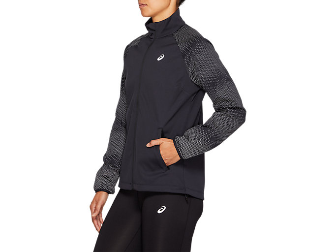Side view of REFLECTIVE JACKET, PERFORMANCE BLACK