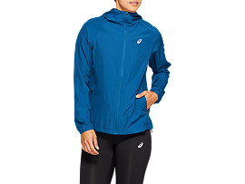 Front Top view of RUN HOOD JACKET, MAKO BLUE