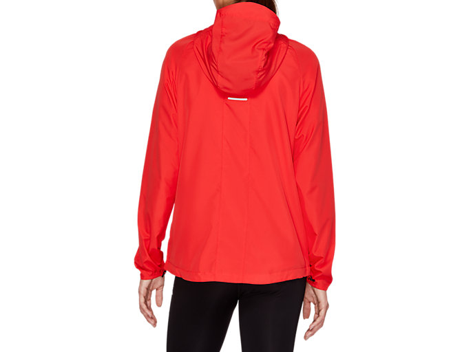 Back view of RUN HOOD JACKET, RED ALERT