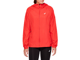 Front Top view of RUN HOOD JACKET, RED ALERT