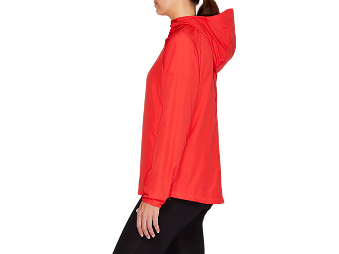 Side view of RUN HOOD JACKET, RED ALERT