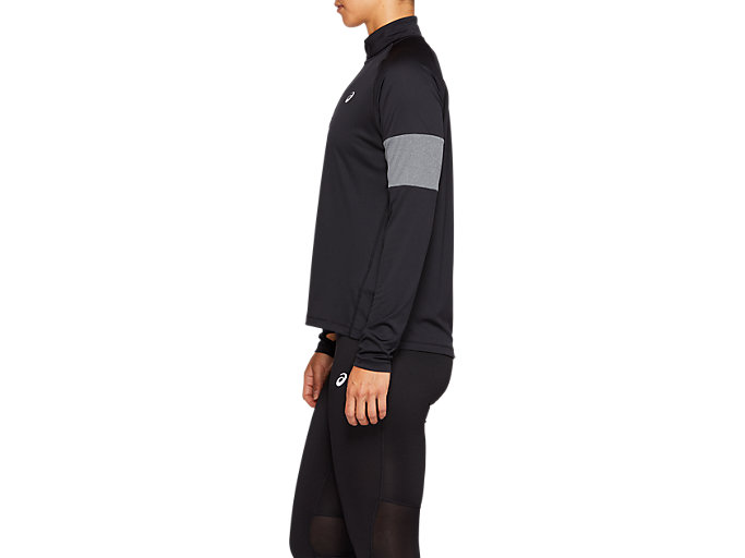 Side view of LS 1/2 ZIP TOP CB, PERFORMANCE BLACK/DARK GREY HEATHER/WHITE