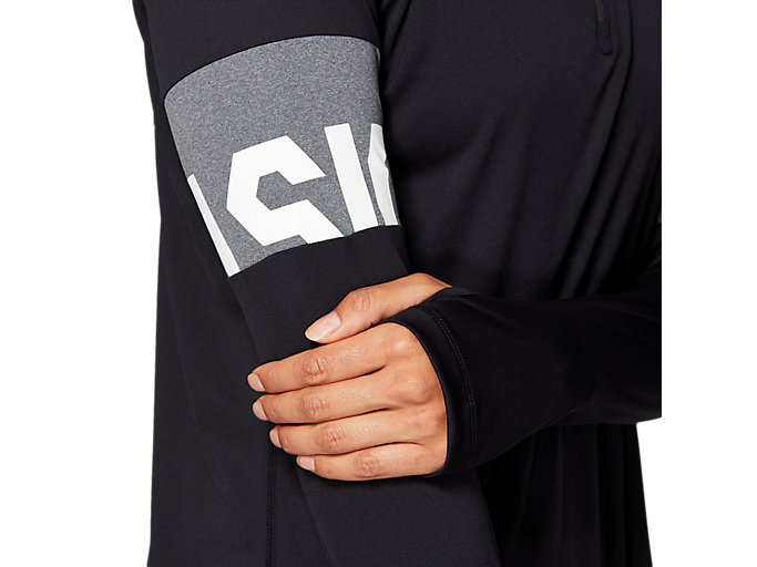 Alternative image view of LS 1/2 ZIP TOP CB, PERFORMANCE BLACK/DARK GREY HEATHER/WHITE
