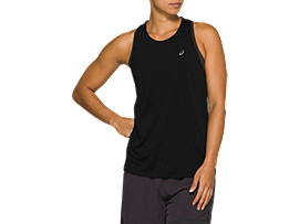 Front Top view of RACE SLEEVELESS, PERFORMANCE BLACK