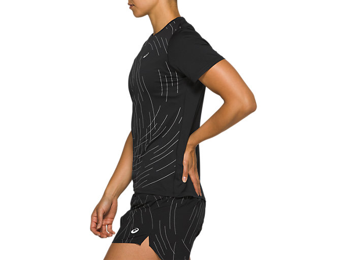Side view of Night Track Short Sleeve Top