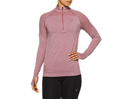 Front Top view of RACE SEAMLESS 1/2 ZIP, PURPLE OXIDE