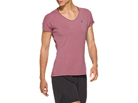 Front Top view of V-NECK SS TOP, PURPLE OXIDE