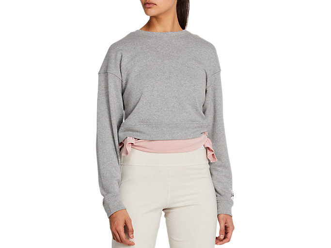 Front Top view of 静-SHIZUKA CROPPED SWEATER, MID GREY