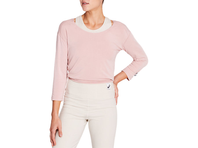 Front Top view of 静-SHIZUKA LONG SLEEVE TOP, PINK