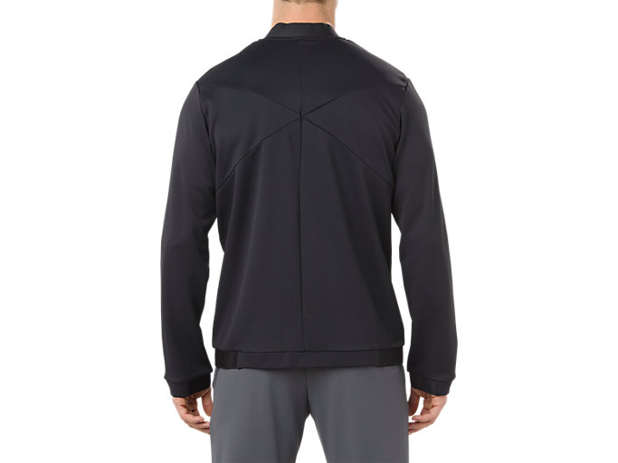 Back view of HEX BLOCK TRACK JACKET, PERFORMANCE BLACK