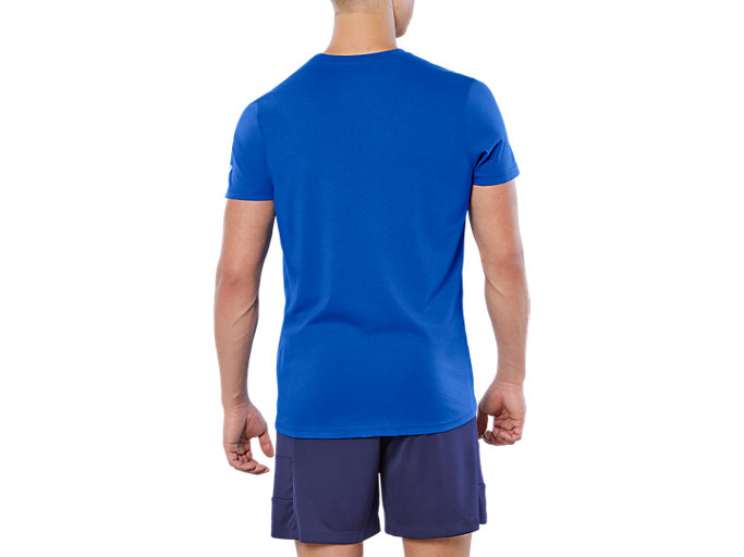 Back view of ESNT DIAGONAL SS TOP, ILLUSION BLUE
