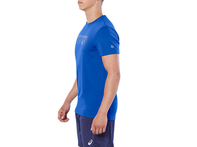 Side view of ESNT DIAGONAL SS TOP, ILLUSION BLUE