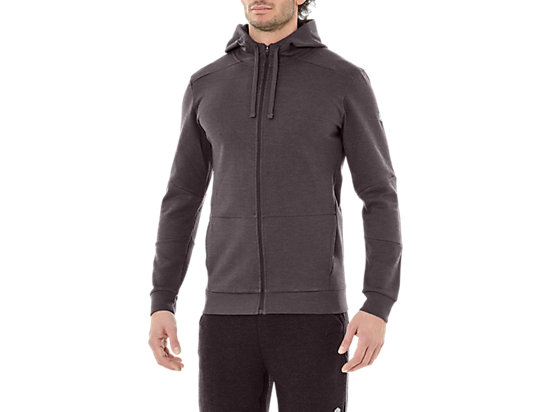 TAILORED FZ HOODY, DARK GREY HEATHER