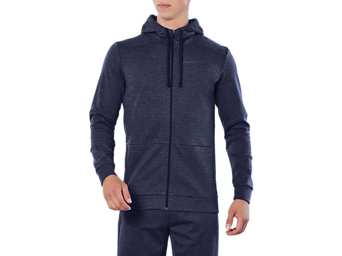 Front Top view of TAILORED FZ HOODY, PEACOAT HEATHER