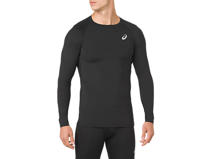 Front Top view of ASICS BASE LAYER LS TOP, PERFORMANCE BLACK