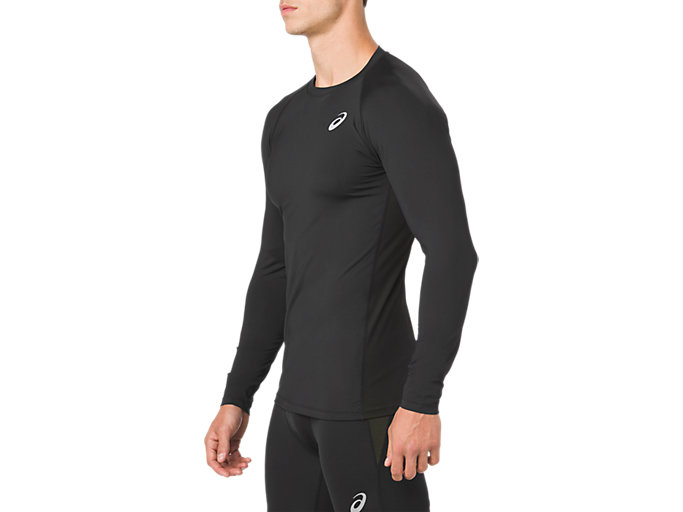 Side view of ASICS BASE LAYER LS TOP, PERFORMANCE BLACK