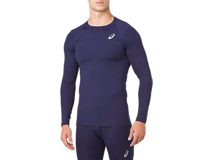 Front Top view of ASICS BASE LAYER LS TOP, PEACOAT