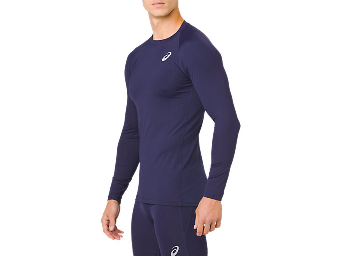 Side view of ASICS BASE LAYER LS TOP, PEACOAT