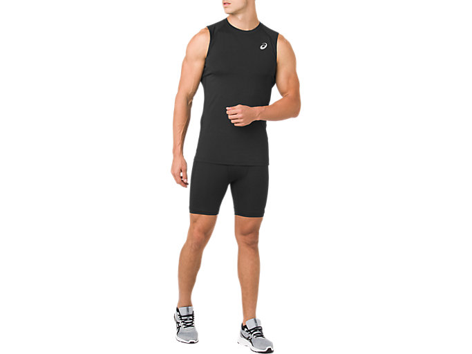 Front Top view of ASICS BASE LAYER SPRINTER 7IN, PERFORMANCE BLACK