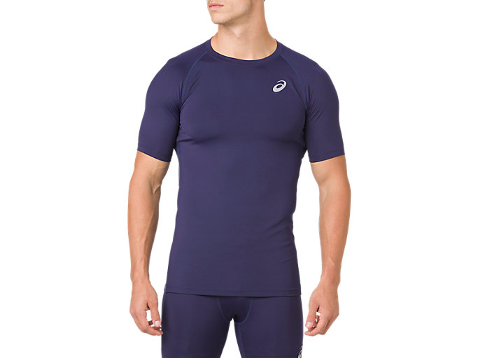 Front Top view of ASICS BASE LAYER SS TOP, PEACOAT