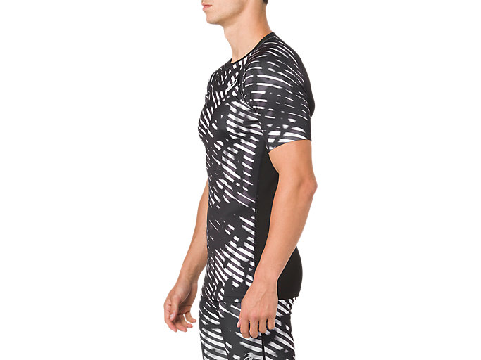 Side view of ASICS BASE LAYER G SS TOP, PERFORMANCE BLACK