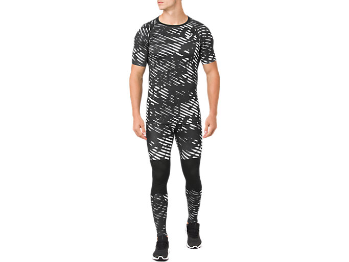 Front Top view of ASICS BASE LAYER G SS TOP, PERFORMANCE BLACK