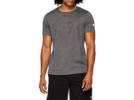 Front Top view of ESSENTIAL COTTON BLEND GPX SS TOP, PERFORMANCE BLACK HEATHER