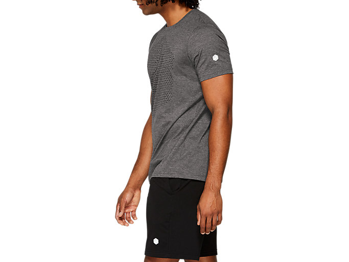 Side view of ESSENTIAL COTTON BLEND GPX SS TOP, PERFORMANCE BLACK HEATHER