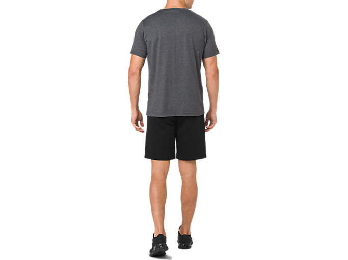 Back view of ESSENTIAL COTTON BLEND GPX SS TOP, PERFORMANCE BLACK HEATHER