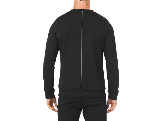 Back view of ESSENTIAL FRENCH TERRY GPX LS CREW TOP, PERFORMANCE BLACK