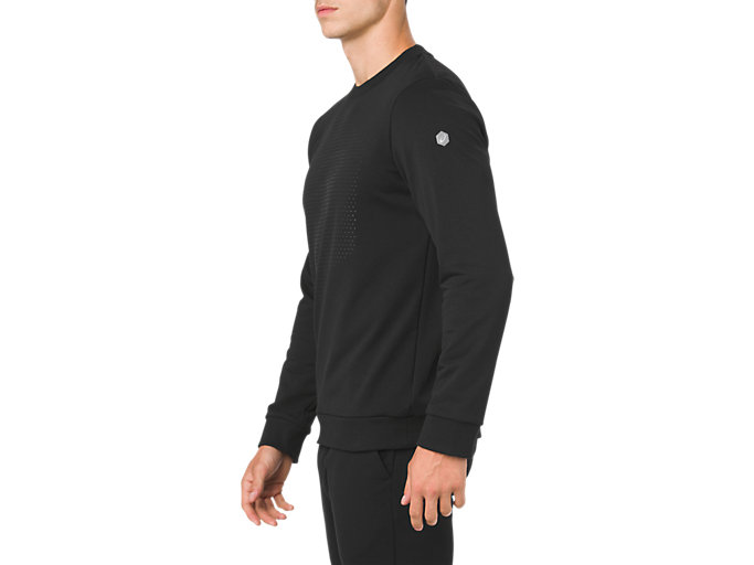 Side view of ESSENTIAL FRENCH TERRY GPX LS CREW TOP, PERFORMANCE BLACK