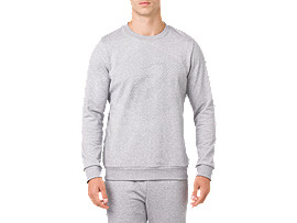 ESSENTIAL FRENCH TERRY GPX LS CREW TOP, STONE GREY HEATHER