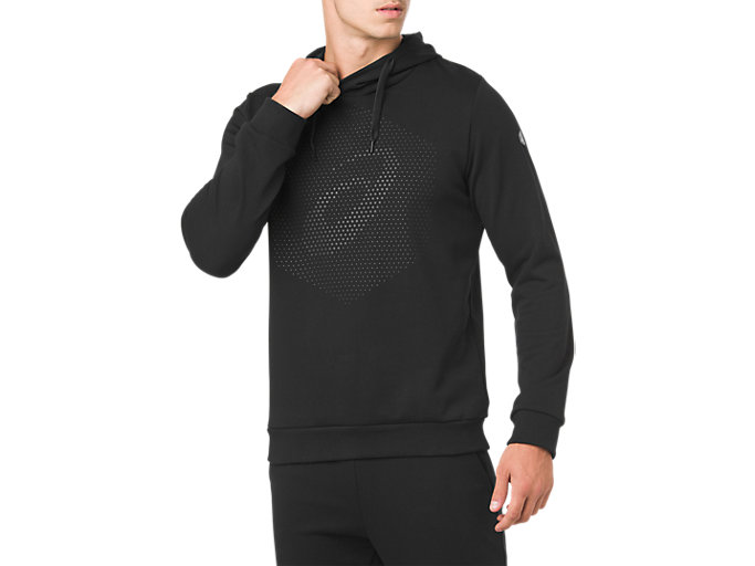 Front Top view of ESSENTIAL FRENCH TERRY GPX PO HOODIE, PERFORMANCE BLACK