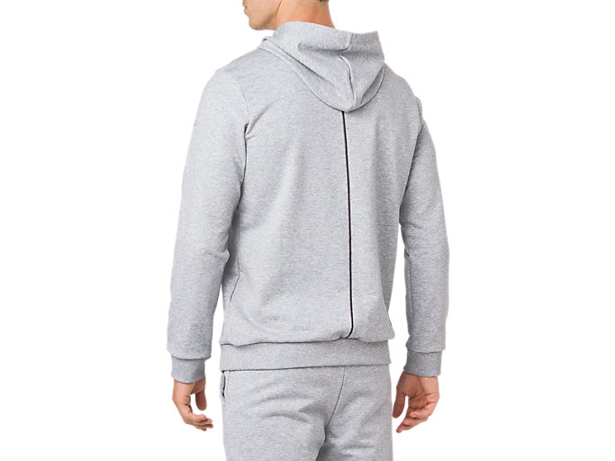 Back view of ESSENTIAL FRENCH TERRY GPX PO HOODIE, STONE GREY HEATHER