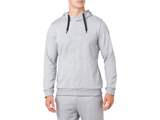 Front Top view of ESSENTIAL FRENCH TERRY GPX PO HOODIE, STONE GREY HEATHER