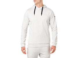 Front Top view of ESSENTIAL FRENCH TERRY GPX PO HOODIE, BRILLIANT WHITE HEATHER