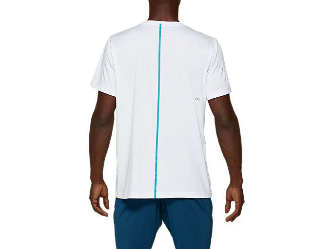 Back view of SD GPX SS TOP, BRILLIANT WHITE / ISLAND BLUE