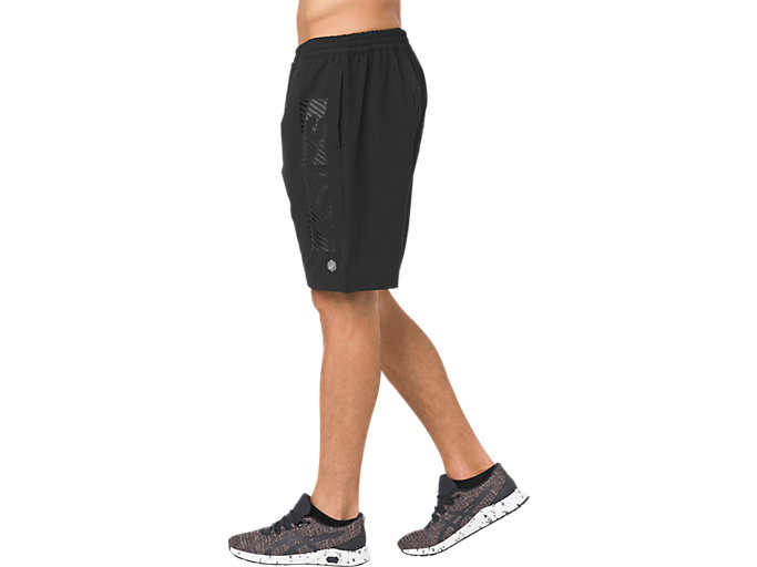 Side view of FITTED SHORT 9IN, PERFORMANCE BLACK