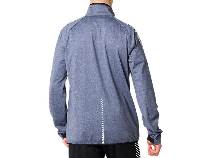 Back view of LIMO®裏起毛ストレッチニットジャケット, ピーコート杢