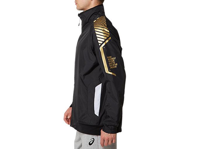 Side view of LIMO®裏トリコットブレーカージャケット, パフォーマンスブラック×ブリリアントホワイト