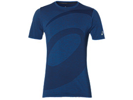 Front Top view of SEAMLESS SS TOP, ASICS BLUE