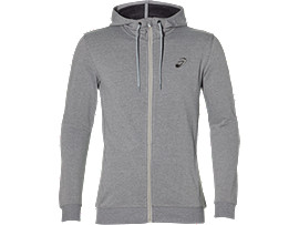 Front Top view of ASICS CHEST LOGO FZ HOODIE, MID GREY HEATHER