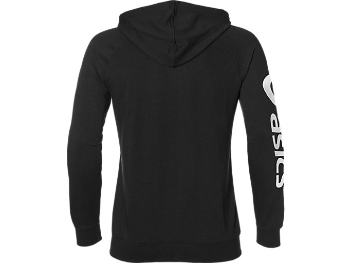 Back view of BIG ASICS FZ HOODIE, PERFORMANCE BLACK/BRILLIANT WHITE