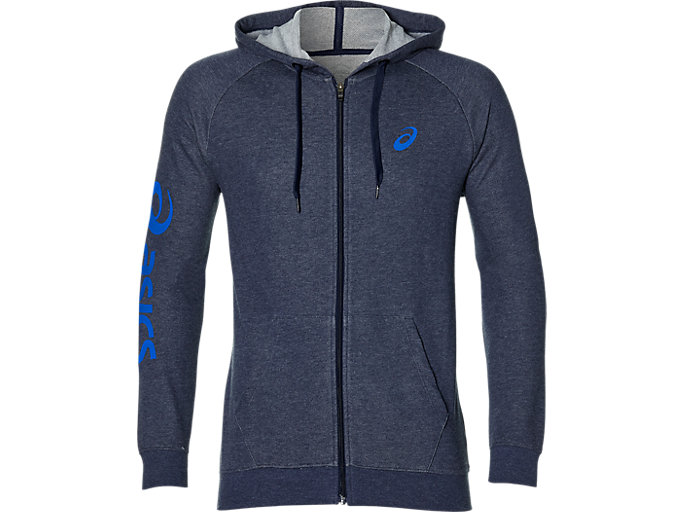 Front Top view of BIG ASICS FZ HOODIE, PEACOAT HEATHER/ASICS BLUE