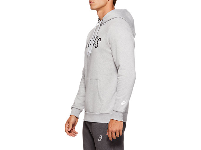 Side view of OTH BIG LOGO HOODIE, MID GREY HEATHER/DARK GREY