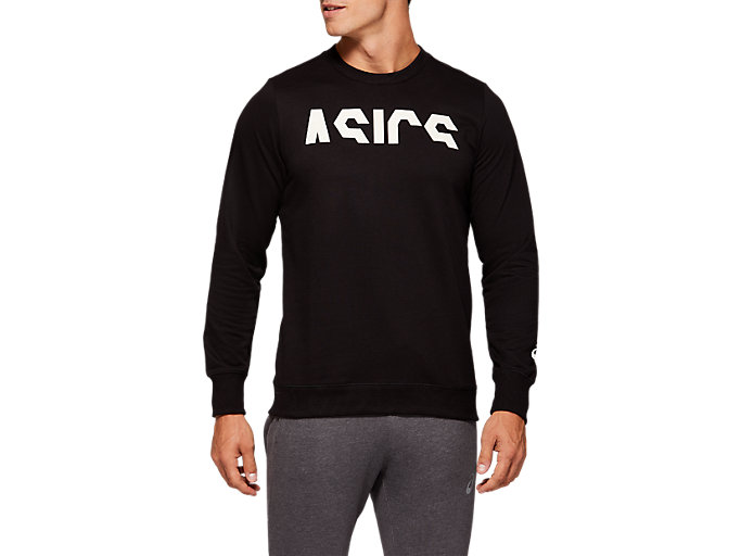 Front Top view of CREW NECK, PERFORMANCE BLACK/BIRCH