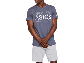 Front Top view of ASICS SOUND TEE, TARMAC/GLACIER GREY