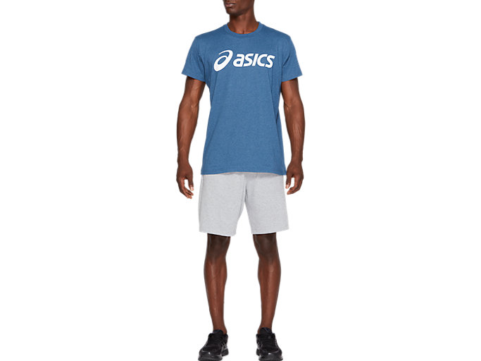 Front Top view of SPORT LOGO TEE, MAKO BLUE HEATHER/BRILLIANT WHITE