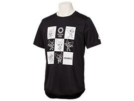Front Top view of Tシャツ(東京2020オリンピックマスコット), ブラック