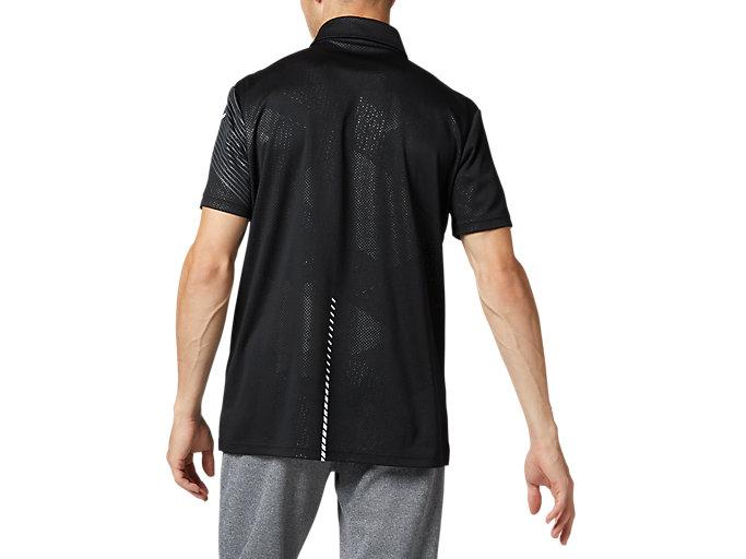 Back view of LIMOグラフィックボタンダウンポロシャツ, パフォーマンスブラック